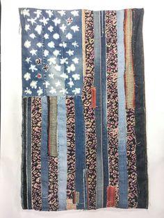 Denim, Kantha Quilt, American Flag, handcrafted, denim, patched denim, US Flag, usa flag, wall art, patches, patchwork, denim lovers, gift