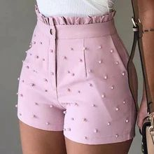New Arrival Fashion Solid Color High Waist Button Ruffled Frill Hem Clothes With Beaded Summer Casual Women Shorts Short Pants – Women & Clothing Mode Club, High Waisted Shorts, Casual Shorts, Frill Shorts, Pink Shorts, Mode Shorts, Mini Robes, Pants For Women, Clothes For Women