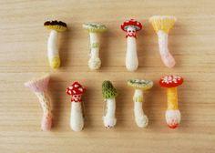 "Hiné Mizushima Check out new work on my Behance portfolio: ""Mushroom Brooches. Cute Crafts, Felt Crafts, Crafts For Kids, Diy Crafts, Fleece Crafts, Felt Mushroom, Mushroom Decor, Wet Felting, Needle Felting"