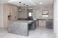 73 on Sleigh - Crontech Consulting Concrete Kitchen, Concrete Countertops, Freestanding Cooker, Copper Pendant Lights, Building Contractors, Concrete Design, Rustic Industrial, Counter Tops, Interior Design Kitchen