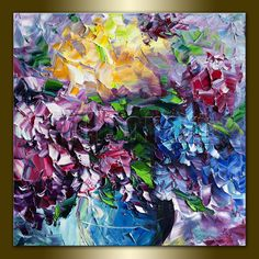 Original Floral Textured Palette Knife Oil Painting by willsonart, $125.00