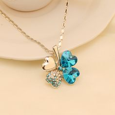 Necklace clover crystal quality unchanged Valentine's Day gift  13X48MC