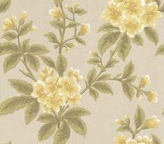 I want wall paper- jason says no... I can dream Grosvenor Street Primrose (0282GRPRIMR) - Little Greene Wallpapers - An early 19th C design with a bold trailing floral print with hand painted look.  Shown here in the Primrose colourway of bright yellow flowers and fresh green leaves. Please request sample for true colour match.