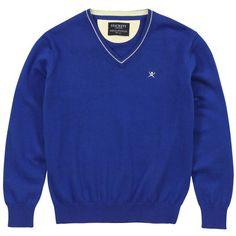 Hackett - Pull col V bleu roi en coton et cachemire mélangés - 59977