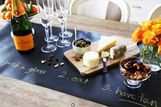 Ideas Original to decorate your table this season Decorate Your Party Table with This Chalkboard Runner: Reusable Chalkboard Table Runner set — Daily Find Ideas Original to decorate your table this season Table Set Up, A Table, Paper Table, Dining Table, Chalkboard Contact Paper, Chalk Holder, Chalkboard Table, Chalkboard Ideas, Wine And Cheese Party