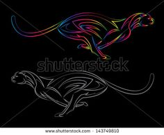 Vector image of an cheetah on black background