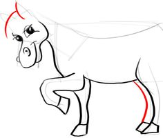 Step 12 horse How to Draw Cartoon Horses with Easy Step by Step Drawing Tutorial -- I used this to draw on a cardboard box to make a bean bag toss and pin the tail games.