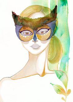 5x7 ART PRINT  Masked Owl Beauty by BellaAndBunny on Etsy, $18.00