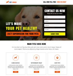 Animals and pets responsive landing page design added to Buylandingpagesdesign.com Launch your animals and pets food and training product and services online and gain maximum exposure to boost your website traffic and conversion rate effectively at a very affordable price.
