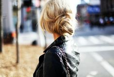 leather and messy bun