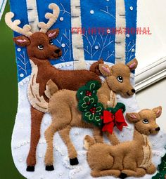 Bucilla Deer Family Felt Christmas Wildlife Stocking Kit Snow 86502 OOP for sale online Felt Stocking Kit, Christmas Stocking Kits, Felt Christmas Stockings, Cute Stockings, Christmas Wreaths, Christmas Decorations, Christmas Ornaments, Holiday Decor, Christmas Things