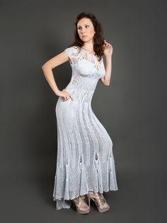 Grey metallized exclusive crochet long dress by LecrochetArt