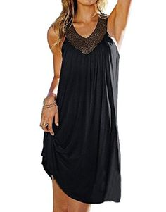 TNYD Womens Sexy Summer Boho Long Beach Evening Party Dress Sundress Black Free size >>> You can get additional details at the image link. Note: It's an affiliate link to Amazon.