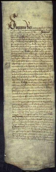 Original parchment record of the trial of Anne Boleyn and her brother, George Boleyn, for incest, adultery, and treason.