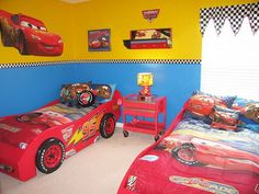Cars-themed room inspiration - I love the blue and yellow walls and this page has some great decorating ideas