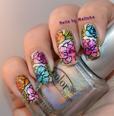 Nails by Malinka: Holo bloemen