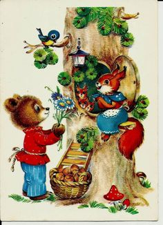 Squirrel Bear and Bird - Vintage Russian Postcard by LucyMarket, $4.99