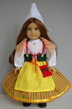 """Fits 18"""" American Girl doll Sweden Swedish folk dress clothes A (COSTUME ONLY)"""