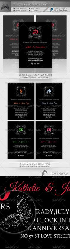 Anniversary Invitattion Greeting Card Template PSD. Download here: http://graphicriver.net/item/anniversary-invitation-template_vol01/236292?s_rank=173&ref=yinkira