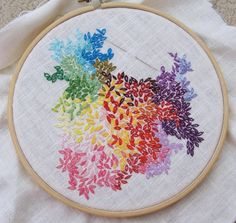 I have no idea what type of stitch this is, but I love it. What a cool embroidery hoop! Creative Embroidery, Embroidery Hoop Art, Beaded Embroidery, Cross Stitch Embroidery, Embroidery Ideas, Sewing Art, Sewing Crafts, Embroidery Techniques, Cross Stitching