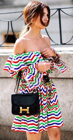 #fashion trends stripped colored mini dress