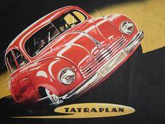 """CARS Advertising  -  """"Tatra"""", Tatraplan, (1949) - Original Vintage Illustration"""