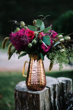 Autumn Wedding Ideas 'Falling' head over heels for these elegant fall wedding decor ideas! Offset the bold warm colors with hints of copper throughout your decor. Jewel Tone Wedding, Floral Wedding, Wedding Colors, Fuschia Wedding Flowers, Pink Flowers, Burgundy Flowers, Dried Flowers, Merlot Wedding, Bohemian Flowers