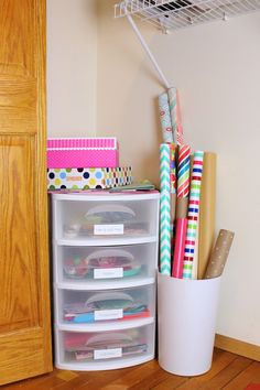 How to create your own gift wrapping station!   This will definitely come in handy this holiday season!  http://bit.ly/1yY7py1