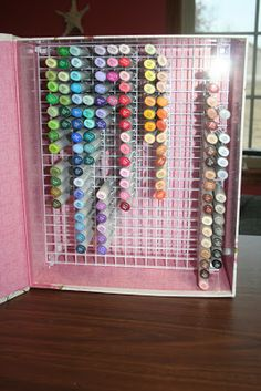 """This is cool. I made one similar. If you make it the bottom shelf needs to be up about 1 1/2"""" from the box bottom or the markers fall out."""