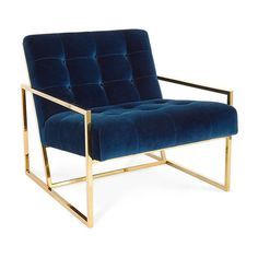 Jonathan Adler Goldfinger Lounge Chair (6,360 PEN) ❤ liked on Polyvore featuring home, furniture, chairs, accent chairs, navy blue accent chair, navy blue chair, jonathan adler, jonathan adler furniture and navy furniture