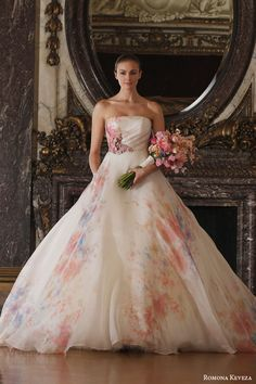 romona keveza spring 2016 luxe bridal rk6409 strapless ball gown italian silk organza soft floral watercolor print enamel floral brooch