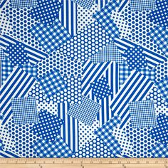 Basic Training Patchwork Royal from @fabricdotcom  This cotton print fabric is perfect for quilting, apparel and home decor accents. Colors include blue and white.