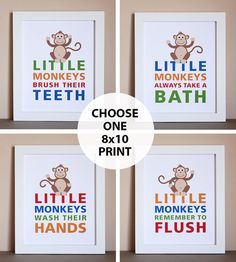 Diy Kids Bathroom Decor monkey bathroom wall art, boy bathroom artwork, brothers bathroom