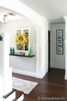 Entry using small shelf instead of table remodelaholic.com #stairs #DIY #wood_stairs