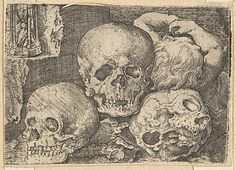 Barthel Beham (German, Nuremberg ca. 1502–1540). Child with Three Skulls (reverse copy), early 16th century. The Metropolitan Museum of Art, New York. Harris Brisbane Dick Fund, 1953 (53.601.19(190)) #skulls #Halloween