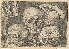Barthel Beham (German, Nuremberg ca. 1502–1540). Child with Three Skulls (reverse copy), early 16th century. The Metropolitan Museum of Art, New York. Harris Brisbane Dick Fund, 1953 (53.601.19(190)) #skulls #Halloween