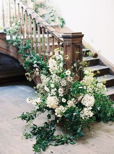 Floral Staircase Installation By The Garden Gate Flower Company Deco Floral, Arte Floral, Floral Design, Floral Arch, Flower Bouquet Wedding, Floral Wedding, Rustic Wedding, June Wedding Flowers, Botanical Wedding