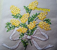 Cuscino mimosa punto croce 1