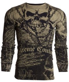 Xtreme Couture AFFLICTION Men THERMAL T-Shirt KILLER Skulls Tattoo Biker UFC $58 #Affliction #GraphicTee