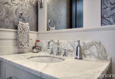 Watermark Powder Room backsplash detail // Veranda Estate Homes Inc. Hardwood Floors In Bathroom, Foyer Flooring, Calgary, Foyer Paint Colors, Guest Bathrooms, Bathroom Ideas, Bathroom Remodeling, Remodeling Ideas, Master Bathroom