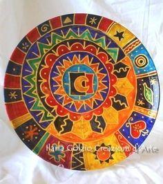 """""""I MANDALA"""" - Piatto decorativo, smalti su porcellana - Diametro Cm.27"""