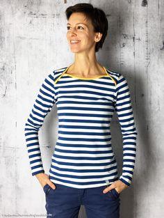 Langsarm-Shirt Ophelia von Mialuna mit amerikanischem Ausschnitt aus weichem Albstoffe Bio-Streifen-Jersey von Eulenmeisterei. Nähinspiration von selbermachen-macht-gluecklich.de
