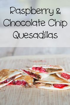 These amazing Raspberry & Chocolate Chip Quesadillas start with almond butter (peanut butter works too!) raspberries and mini chocolate chips, and end up with this gooey-sweet goodness. *drool*. These are a wonderful afternoon snack…as they are well balanced with the right amount of protein, fruit and touch of sugar…and will keep the kids (and you!) full until dinner! | 5DollarDinners.com