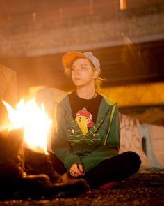 having a bonfire