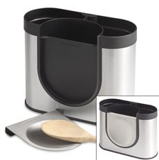 This attractive utensil holder with stainless steel accents has a space saving design that allows for easy placement on the counter for high capacity storage, while taking up little room. $19.99 at #BedBathAndBeyond