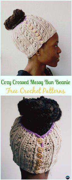 Crochet Cozy Crossed Messy Bun Beanie Free Pattern - Crochet Ponytail Messy Bun Hat Free Patterns & Instructions