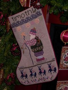 Cross Stitch Christmas Stocking - in our one has the name 'Charlotte' on it! Cross Stitch Christmas Stockings, Cross Stitch Stocking, Christmas Stocking Pattern, Christmas Cross, Cross Stitch Samplers, Cross Stitch Charts, Cross Stitching, Cross Stitch Patterns, Stockings With Names