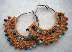 Approximately 1.75 inches in diameter. Brass Hoop. These bohemian crochet hoop earrings are inspired by what and yellow flower arrangements. They