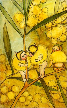 """TitlePainting. """"Wattle Babies"""". Babies Dressed in Wattle Caps and Coats, by May Gibbs. Exhibit only. [watercolour painting of the """"Wattle Babies""""]"""