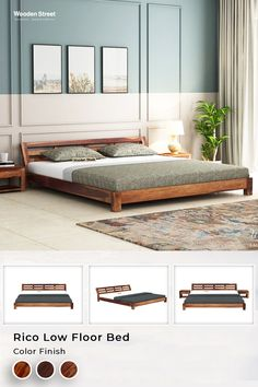 Rico bed is a modern low-height bed design. It has a slanted headboard in rectangular checks detailed on it.  #woodenstreet #furniture #furniturestore #furniturebondedwithlove #bedroom #bed #bedswithstorage #storagebed
